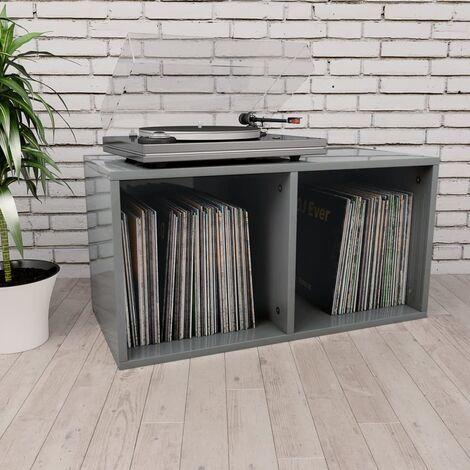 Boite de rangement de vinyles Gris brillant 71x34x36 cm