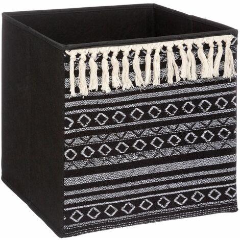 Boîte de rangement design ethnique Mix n' modul - L. 31 x l. 31 cm - Noir - Noir