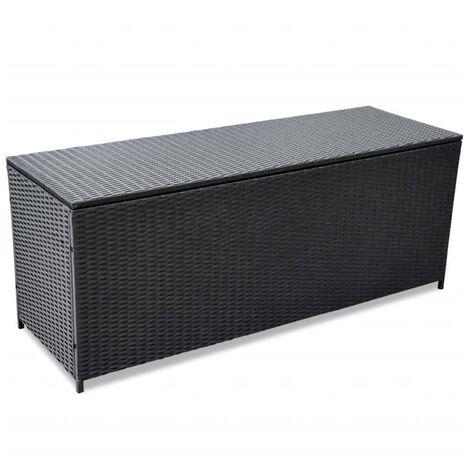 Boite de rangement d'exterieur Resine tressee Noir 150x50x60 cm