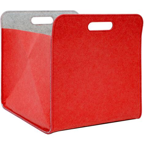 Boîte de Rangement Feutre 33x33x38 cm Kallax Panier Feutrine Étagère Ikea Rouge