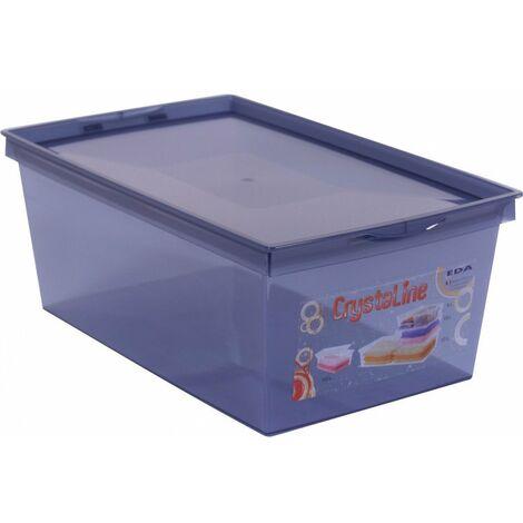 Boîte de rangement plastique crystaline 34,3 x 21 x 13,2 bleu profond 6 l