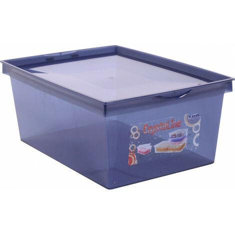 Boîte de rangement plastique crystaline 38 x 26,7 x 15,3 bleu profond 10 l