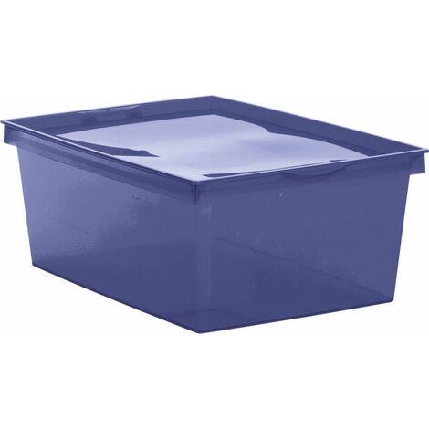 Boîte de rangement plastique crystaline 41,8 x 35 x 18,7 bleu profond 18 l