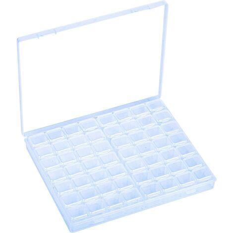Boîte de Rangement Plastique pour Bijoux avec 56 Grilles Casier Amovible pour Perle Collier Boucle d'Oreille Séparateur Transparent pour Travail Manuel Range Diamant Broderie Nail Art