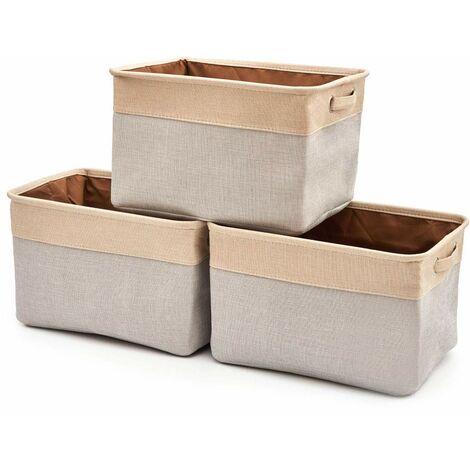 Boîte de Rangement Pliable en Lin avec Les poignées, Panier de Rangement, Rangement de Qualité - Pack de 3 - Gris Clair/Crème