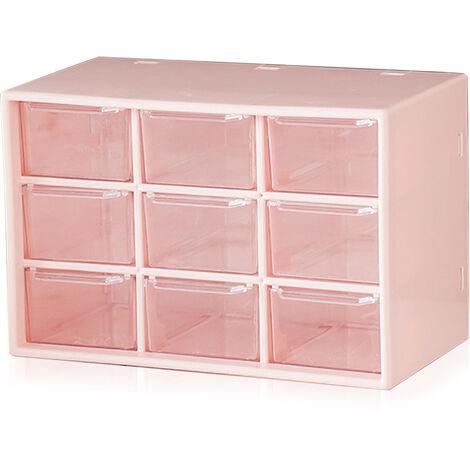 Boite de rangement pour tiroir anti-poussiere en plastique Jiugongge rose clair
