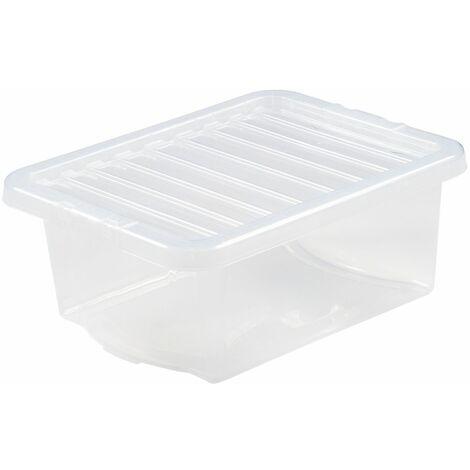 Boîte de rangement transparente   16 l   Avec couvercle   Certeo - Transparent