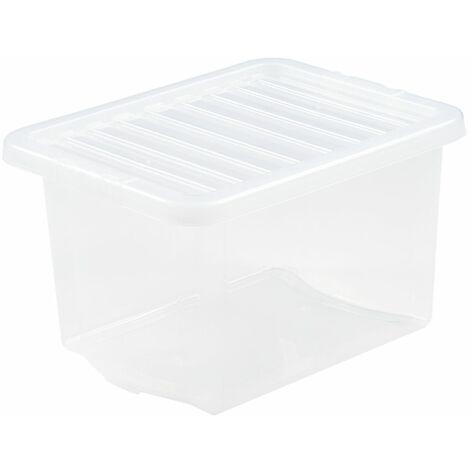 Boîte de rangement transparente   24 l   Avec couvercle   Certeo - Transparent