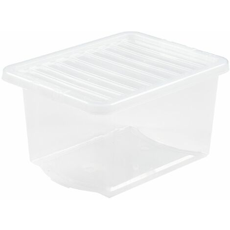 Boîte de rangement transparente   30 l   Avec couvercle   Certeo - Transparent