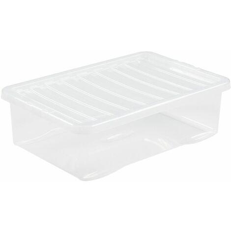 Boîte de rangement transparente   32 l   Avec couvercle   Certeo - Transparent