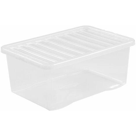 Boîte de rangement transparente | 45 l | Avec couvercle | Certeo - Transparent