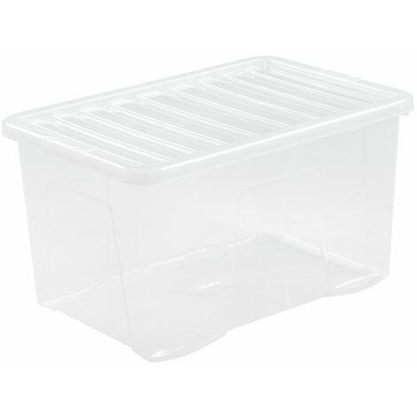 Boîte de rangement transparente | 60 l | Avec couvercle | Certeo - Transparent