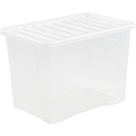 Boîte de rangement transparente   80 l   Avec couvercle   Certeo - Transparent