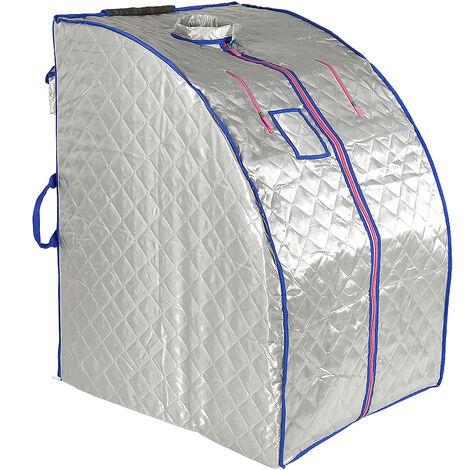 Boîte de sauna portable infrarouge - Spa à Domicile pour une Personne - Idéal pour la Désintoxication et la Perte de Poids - Argent - Argent