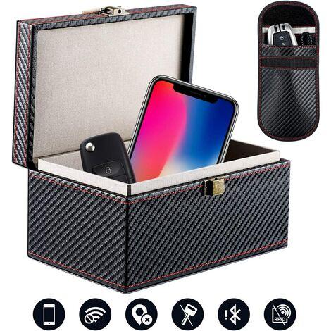 Boîte de Sécurité Clef de Voiture sans Clef, Coffret Cage de Faraday Protection Clé sans Contact Keyless Go Boîte Antivol en PU Bloque Signal RFID et NFC de Porte-clés Fob