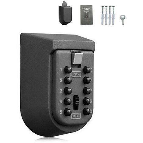 Boîte de serrure de stockage de clé extérieure fixée au mur 10 chiffres combinaison de bouton-poussoir mot de passe clé coffre-fort Code réarmable porte-clés