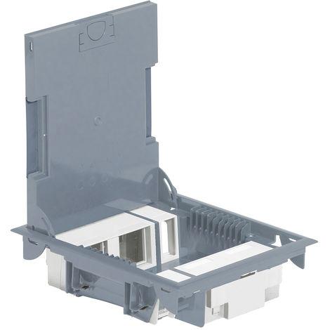 Boîte de sol haut. 65 mm - à équiper - 4x2 mod + 2x1 mod - couv pour revêtement