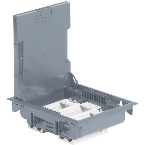 Boîte de sol haut. 75-105 - à équiper - 12 mod - couv revêtement gris RAL 7031