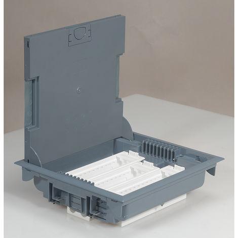 Boîte de sol haut. 75-105 - à équiper - 18 mod - couv revêtement gris RAL 7031
