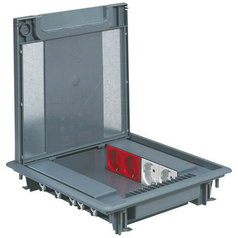 Boîte de sol hauteur réduite 50mm pour plancher technique ou chape béton avec couvercle (088070)