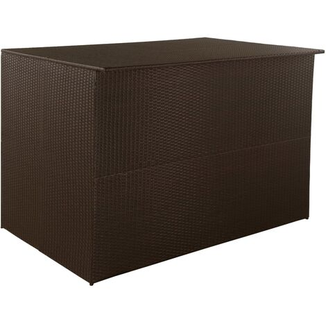 Boîte de stockage de jardin Marron 150x100x100cm Résine tressée