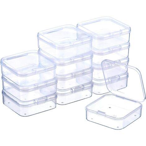 Boîte de Stockage de Perles en Plastique Transparent avec Couvercle à Charnière pour Perles et Plus (2.12 x 2.12 x 0.79 Pouces)