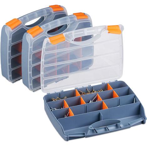 boîte de tri en lot de 3, poignée, Caisse à outils à fermer, petits objets, configurable, HLP 6x32x24 cm, gris