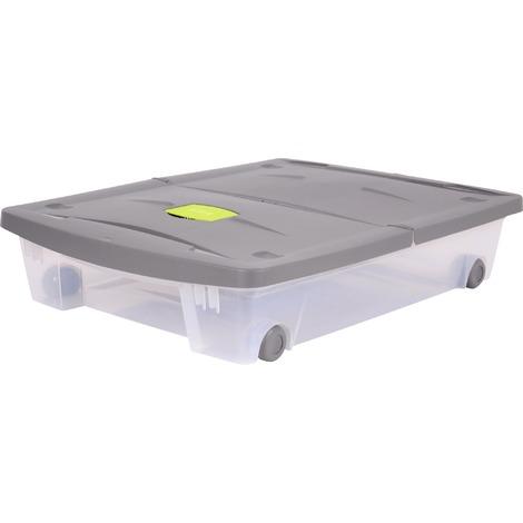 Boîte dessous de lit Eda - 50 l - Gris galet - Naturel Couvercle gris