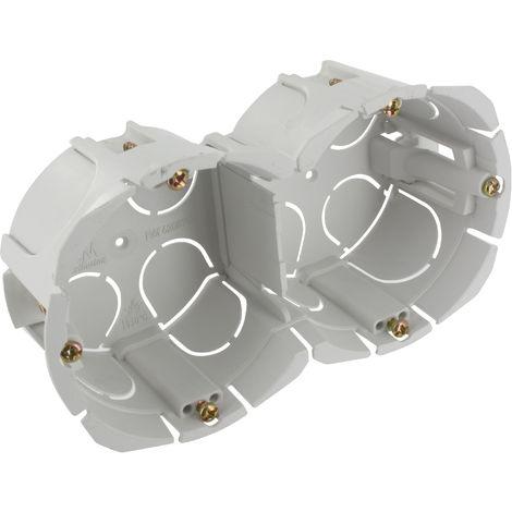 Boîte double encastrée Bibox à vis entraxe 57 mm - Diam. 65-67 mm - Prof. 40 mm