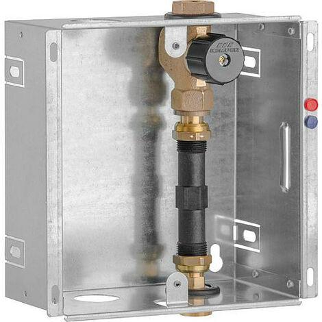 """Boite encastrable compteur d'eau DN20 (3/4""""), 1 x vanne bronze adapteur 110mm, sans couvercle"""