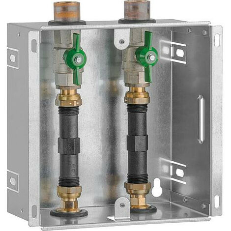 """Boite encastrable compteur d'eau DN20(3/4""""), 2 robinets spheriques adapteur 110mm, sans couvercle"""