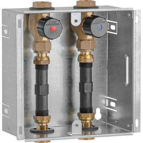"""Boite encastrable compteur d'eau DN20(3/4""""), 2 x vannes bronze adapteur 110mm, sans couvercle"""