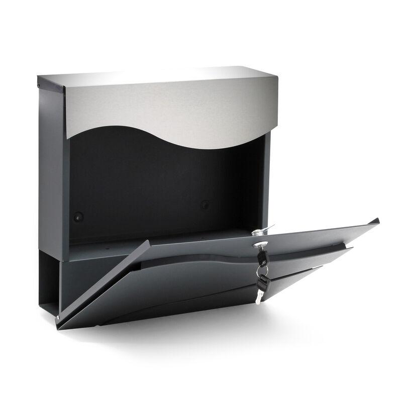 Boite Lettres Design V28 Anthracite Compartiment Journaux Fixation Murale Revetue Poudre Inox