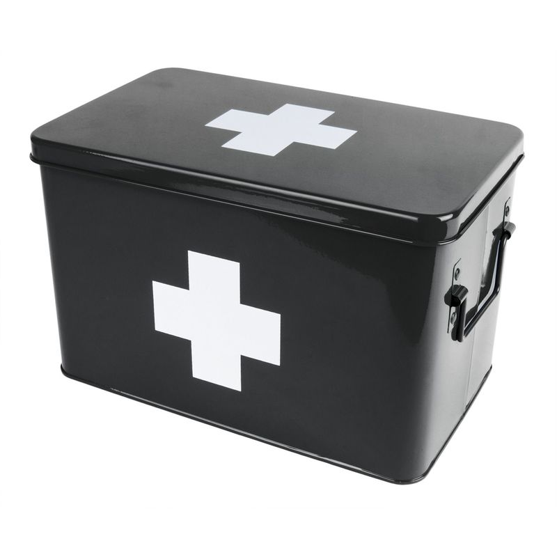 Pt Living - Boite à pharmacie en métal Medicine 31.5 x 19 x 21 cm - Noir