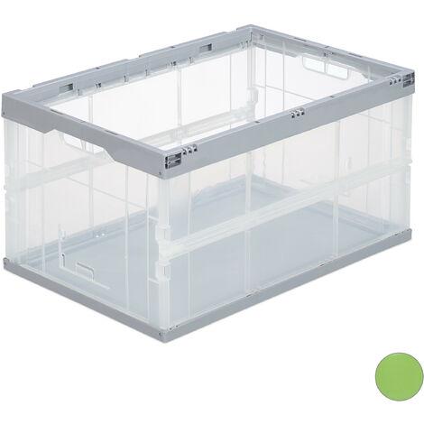 Boîte pliable couvercle caisse de rangement plastique coffre transport 31 x 59 x 39,5 cm, gris