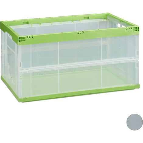 Boîte pliable couvercle caisse de rangement plastique coffre transport 31 x 59 x 39,5 cm, vert