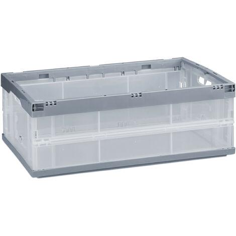 Boîte pliable couvercle caisse de rangement plastique coffre transport 40 litres 21,5 x 59 x 39,5 cm, gris