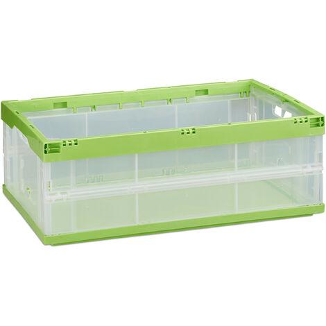 Boîte pliable couvercle caisse de rangement plastique coffre transport 40 litres 21,5 x 59 x 39,5 cm, vertt
