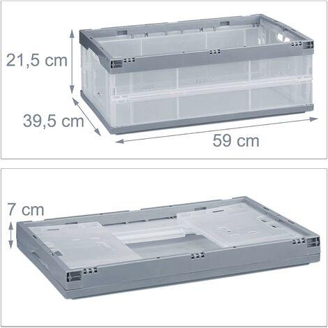 Boîte pliable couvercle caisse de rangement plastique coffre transport 40 litres gris - Gris