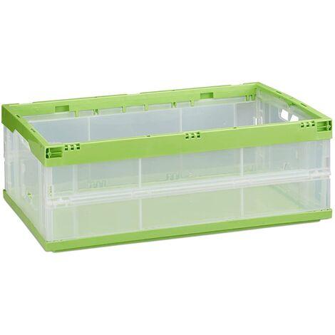 Boîte pliable couvercle caisse de rangement plastique coffre transport 40 litres vert - Or