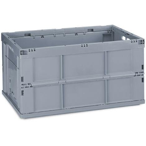 Boîte pliable couvercle caisse de rangement plastique coffre transport 60 litres 31,5 x 58,5 x 40 cm, gris