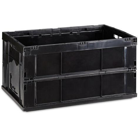 Boîte pliable couvercle caisse de rangement plastique coffre transport 60 litres 31,5 x 58,5 x 40 cm, noir