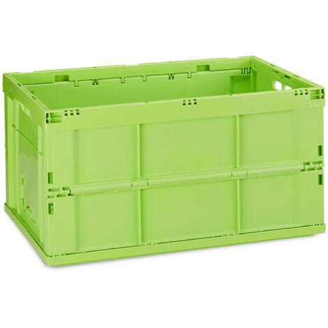 Boîte pliable couvercle caisse de rangement plastique coffre transport 60 litres 31,5 x 58,5 x 40 cm, vert