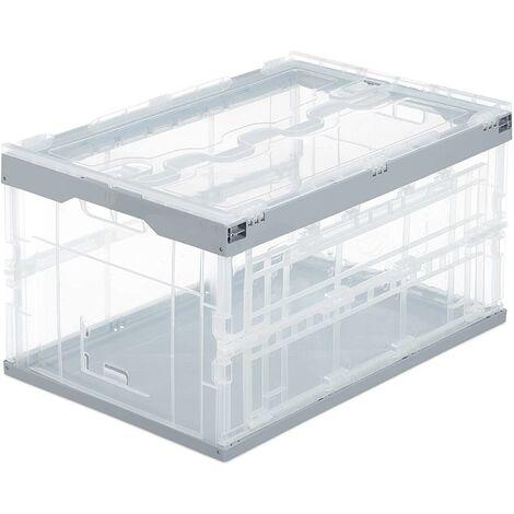 Boîte pliable couvercle caisse de rangement plastique coffre transport 60 litres gris - Gris