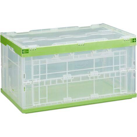 Boîte pliable couvercle caisse de rangement plastique coffre transport 60 litres vert - Or
