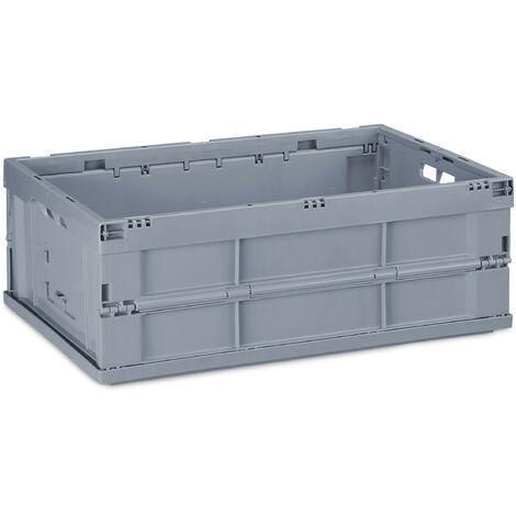 Boîte pliable, couvercle, Caisse de rangement plastique,Coffre transport 20,5 x 59,5 x 40 cm, gris