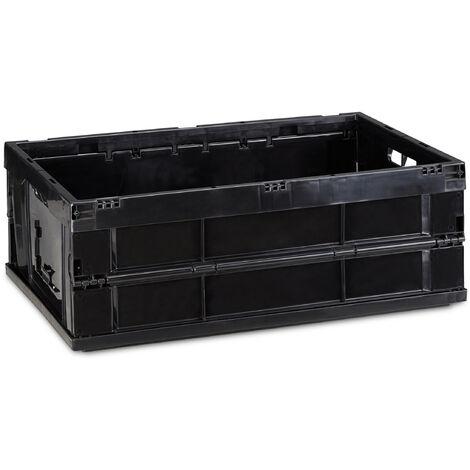 Boîte pliable, couvercle, Caisse de rangement plastique,Coffre transport 20,5 x 59,5 x 40 cm, noir