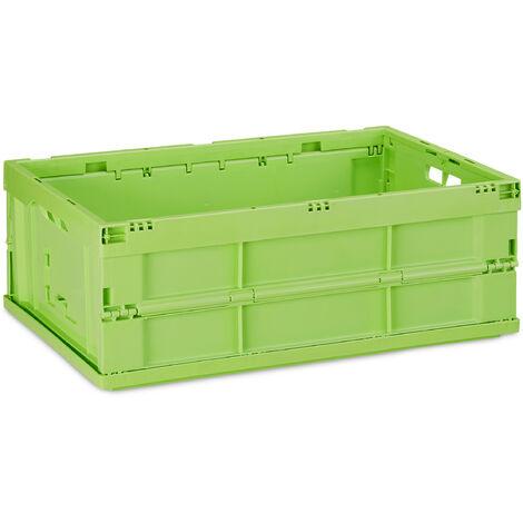 Boîte pliable, couvercle, Caisse de rangement plastique,Coffre transport 20,5 x 59,5 x 40 cm, vert