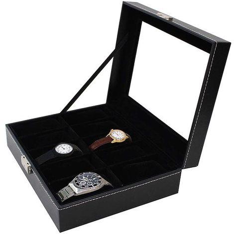 Boite pour Montres et Bracelets, Coffret à Montres, 10 montres et vitre, Noir, Dimensions: 25 x 20 x 8 cm