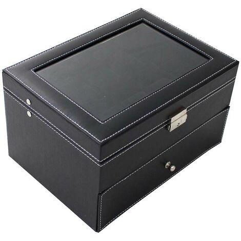 Boite pour Montres et Bracelets, Coffret à Montres, 20 montres avec vitre et tiroir, Noir, Dimensions: 28,5 x 20,5 x 15 cm